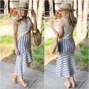 Navy Taupe Linen Look Striped High Low Skirt